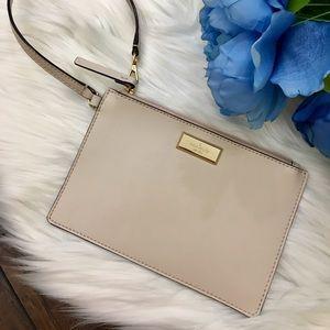 {Kate Spade} Ivory Flat Leather Wristlet